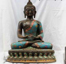 004647 24 Tibet Templo de Bronce Antiguo Cloisonne Amitayus Sakyamuni Tathagata Buda Estatua