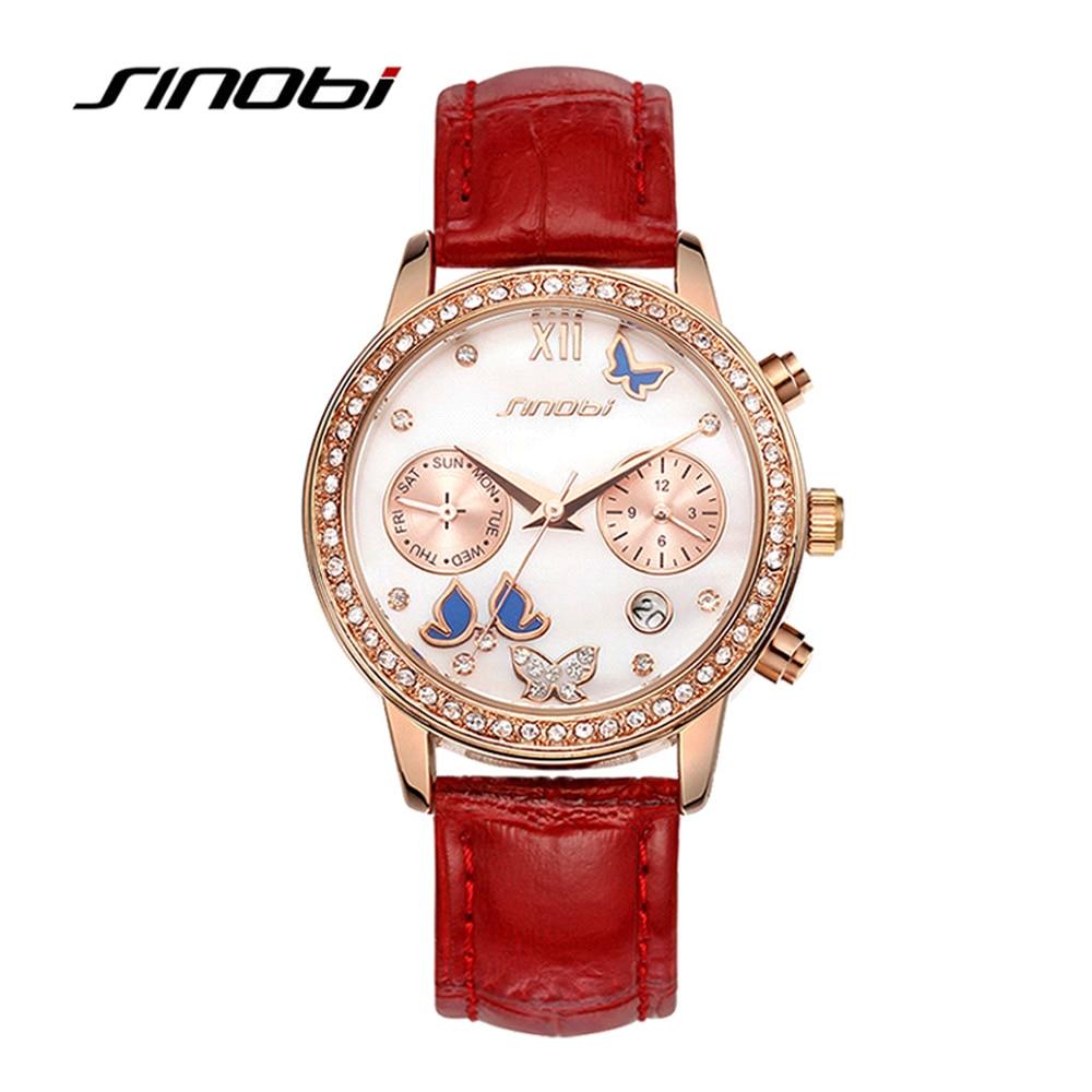 SINOBI moda mujeres relojes Noble diamante correa de cuero rojo mariposa  impresión damas calendario cuarzo reloj regalo del día de madres 5cff003cbe87