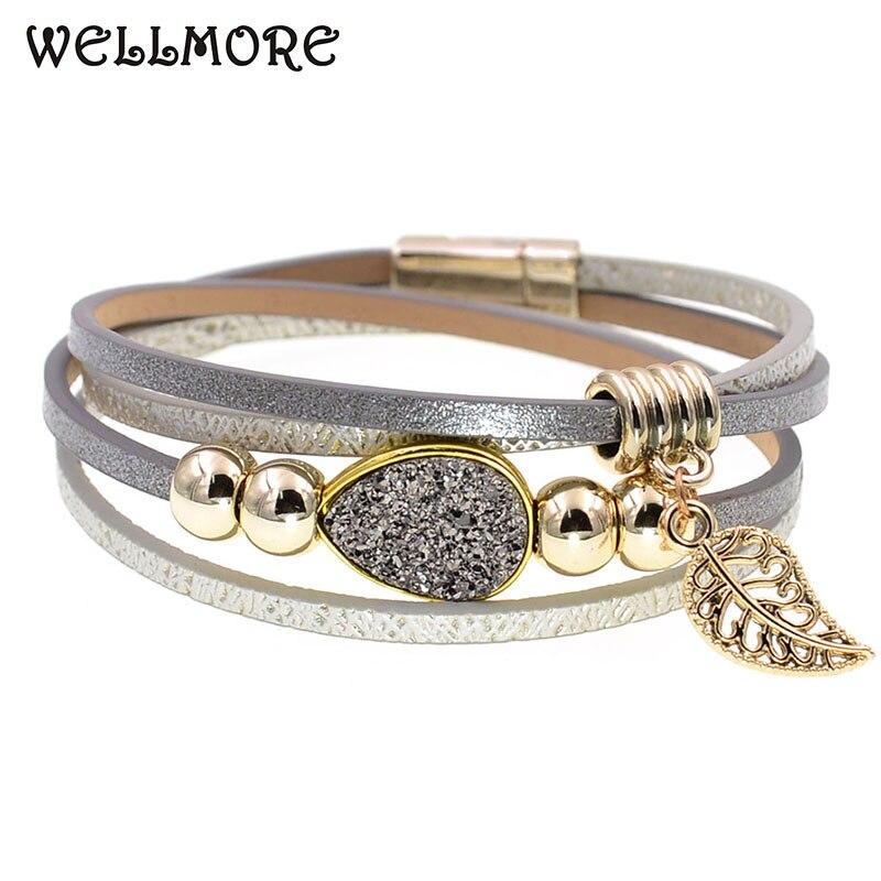 WELLMORE fashion jewelry leather bracelet beaded bracelets leaf stone wrap bracelets for women Bohemian bracelet wholesale
