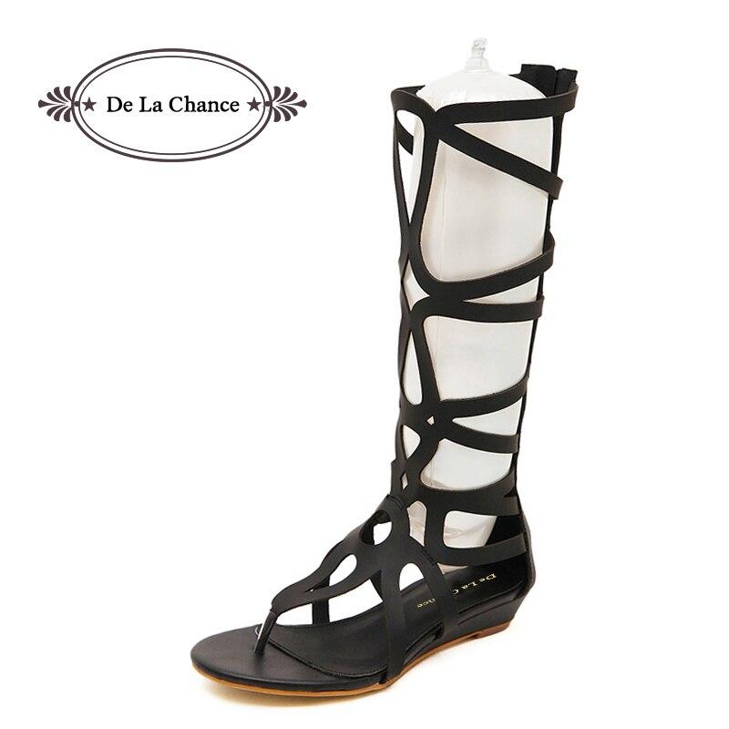 Estilo de verano Rodilla Sandalias Altas Zapatos Mujer 2018 Moda Mujer Botas Sandalia Zapatos Mujer Sexy Verano Mujer Zapatos Sandalias de Gladiador