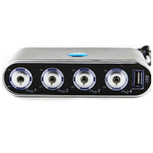 4 Way Car Cigarette Lighter Socket Splitter + USB + LED Light Control, Black