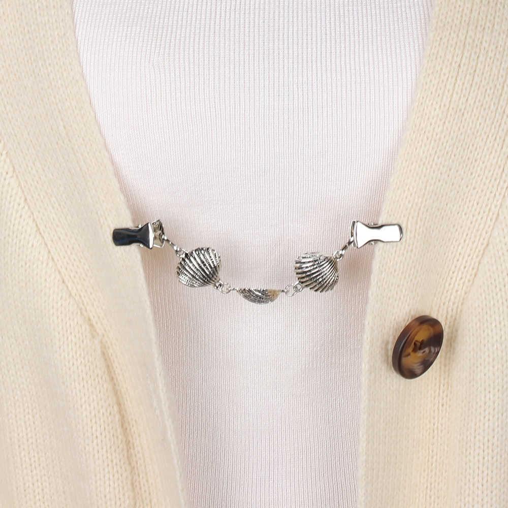 Vintage Cardigan Sweater Blus Pin Selendang Bros Klip untuk Wanita Kemeja Kerah Retro Bebek Klip Musim Dingin Syal Gesper Pesona Perhiasan