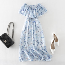 Summer Bohemian Beach Long Dress Women Slash Neck Short Sleeve Backless Sexy Club Party Dresses Print Floral Chiffon Boho Dress(China)