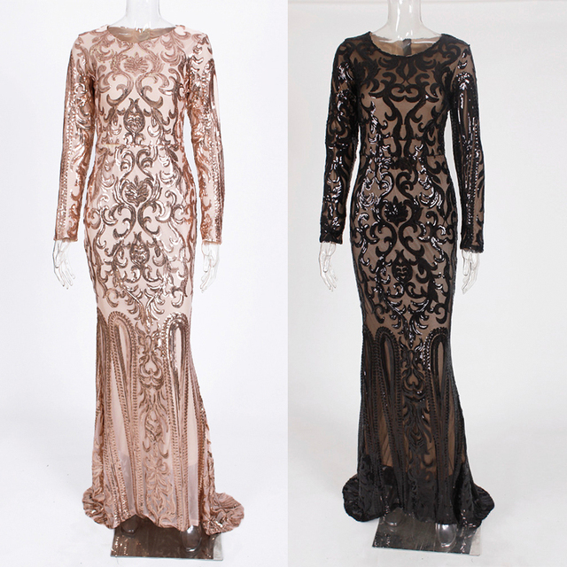 Elegant Full Sleeved O Neck Gold Sequined Party Dress Stretch Floor Length Bodycon Black Maxi Dress 3