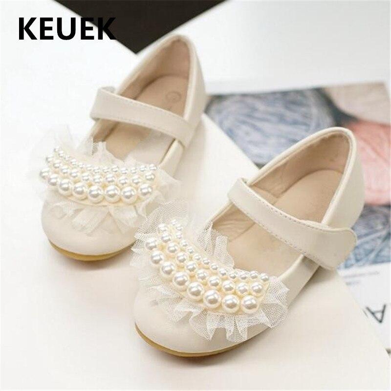 meninas novas sapatos de couro festa sapatos de danca princesa do bebe da crianca apartamentos perola