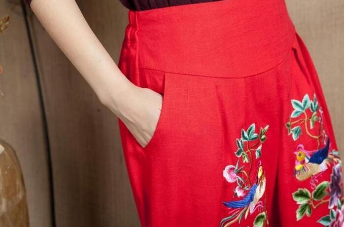 Del Calde xxl Molla Alte Nero Grasso 2019 Vita Le Rosa Pantaloni Come Modo l Libero Per Nuovo Il Vendi Della Di blu Torte Donne Gambe colore rosso Cotone Tempo Ricamato xqAPS0w