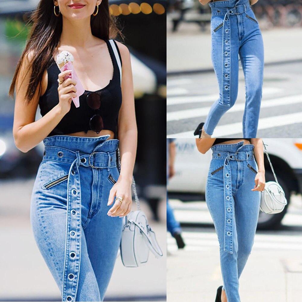 100% Wahr Neue Mode Blau Denim Jeans Frauen Damen Hohe Taille Dehnbar Dünne Kordelzug Jeans Hosen Bleistift Hosen Plus Größe 6- 16 Husten Heilen Und Auswurf Erleichtern Und Heiserkeit Lindern