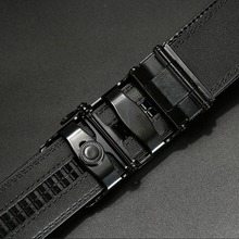 Black Genuine Leather Automatic Buckle Belt