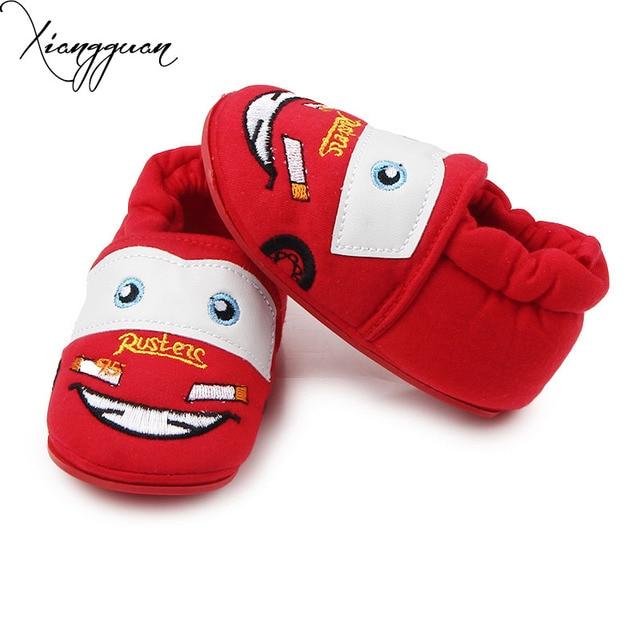 8c13137b22f90 Hot Bébé Coton Chaussures TPR Semelle de Bande Dessinée Mignon Voiture  Infant Toddler Bébé Marche Crochet