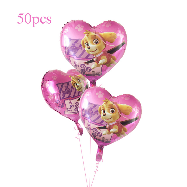50pcs PAW Patrol Balloons Ryder Marshall Rubble Chase Skye Birthday Party Cartoon Dog Decorations Animal