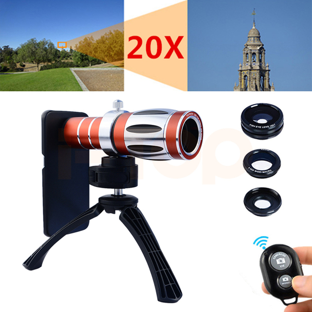 2017 20x zoom teleobjetivo telescopio de la lente de ojo de pez gran angular macro para el iphone 4 4S 5 5S 6 6 s 7 plus teléfono trípode cámara kit de lentes