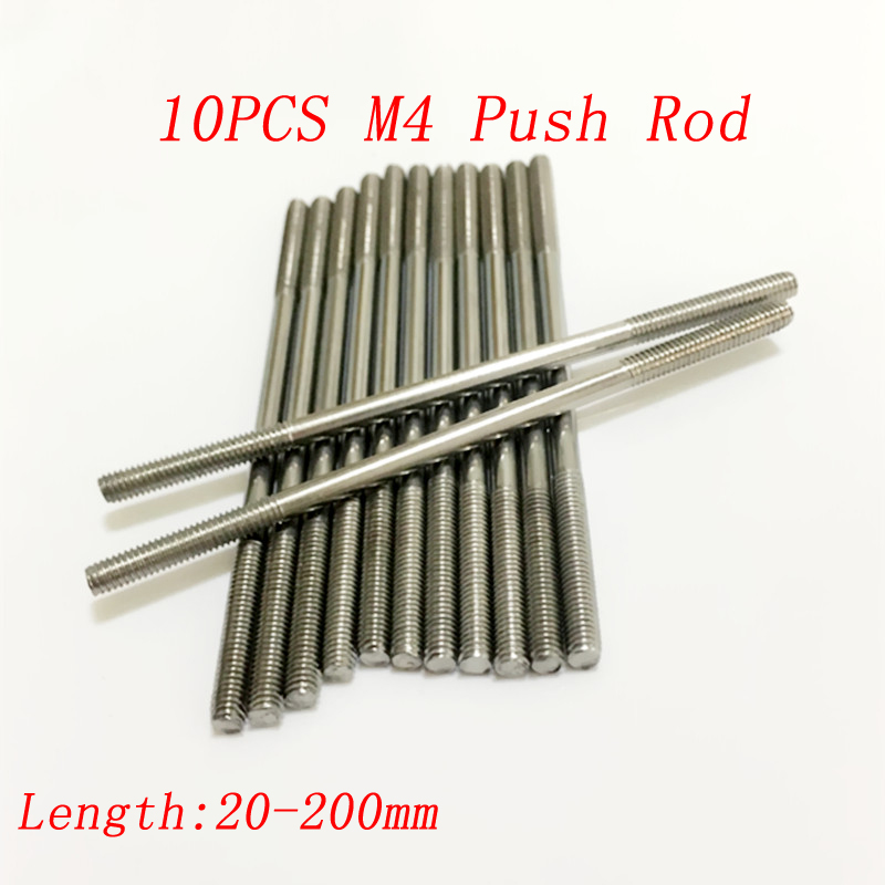 10PCS M4 Metal Push Rod Servo Linkage Dual Head Threaded Connecting Axle L 20-200mm Pull Parts for RC Boat/Car/Aircraft image