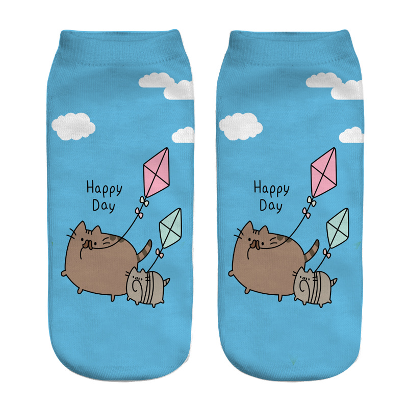 HOT 2018 New Print 3D   Socks   Women animal Unicorn Cat Pig Femme womens   socks   low cut ankle short funny   socks