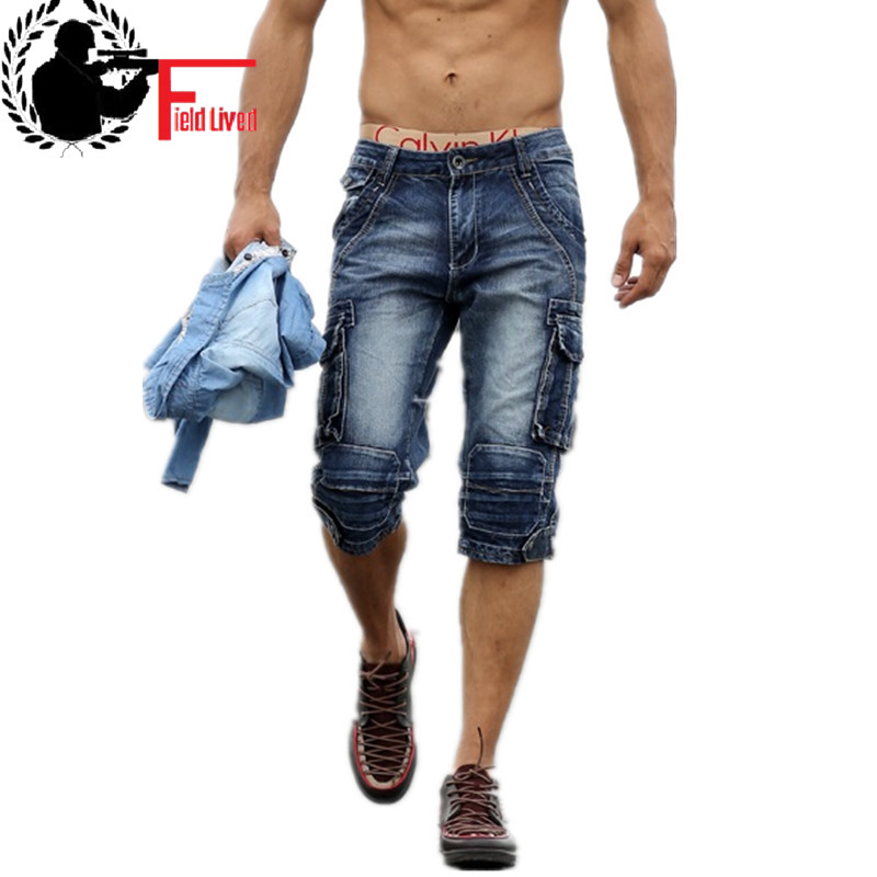 2020 New Summer Men's Retro Denim Shorts Casual Washed Male Fashion Short Jeans Knee-length Overall Combat Cargo Military Style