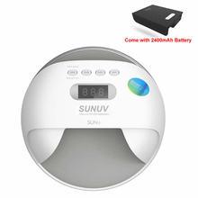 SUNUV 48 Вт SUN7 Беспроводной профессиональный светодиодный УФ-лампы для ногтей светодиодный свет ногтей Сушилка для ногтей УФ лампа с Батарея