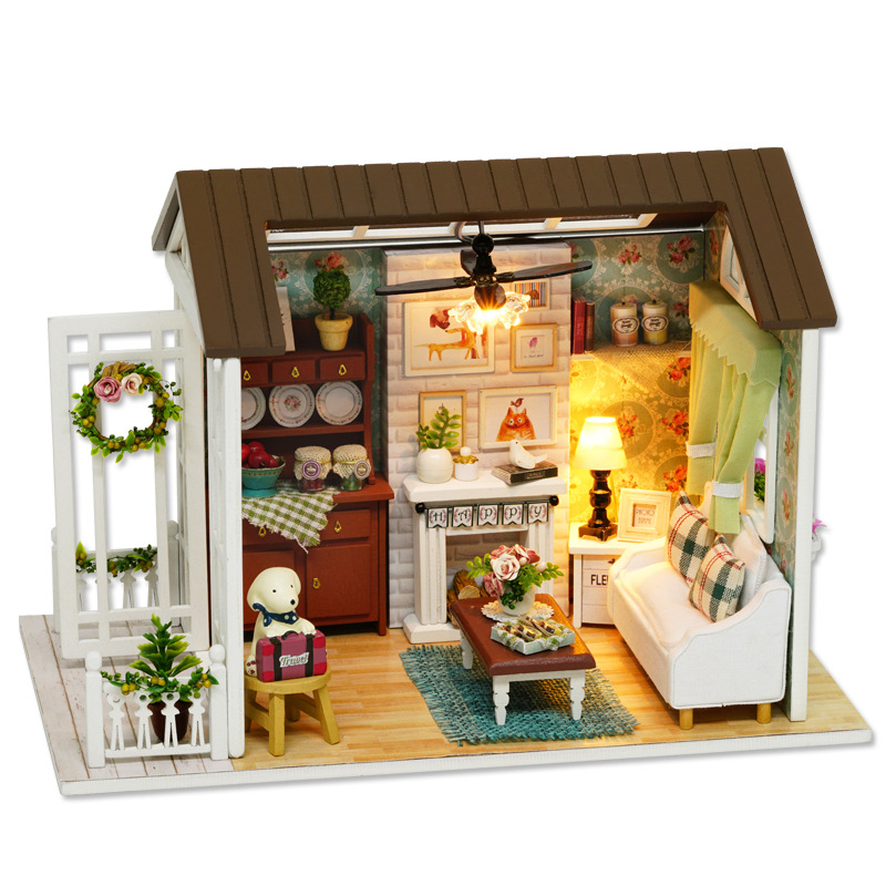 LED Light Miniature Furniture Doll House Dollhouse DIY Kit Wooden House Puzzles Model Toy for Kids Birthday Christmas Gifts