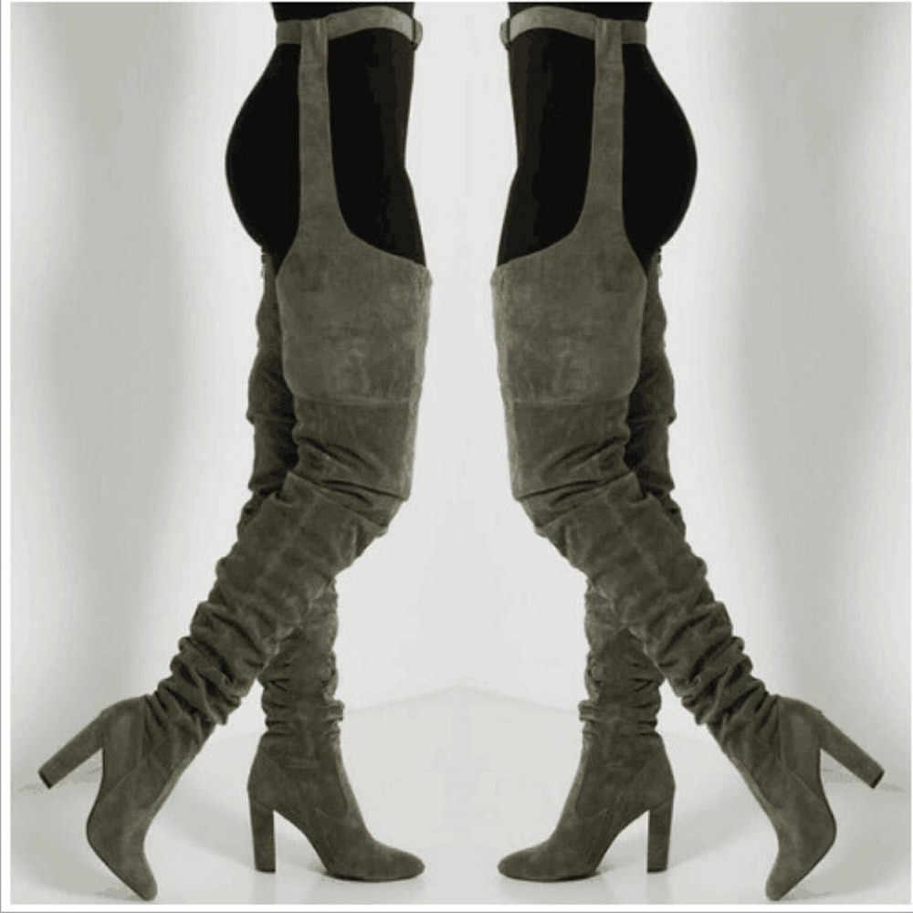 ผู้หญิงจีบ Flock Over เข่าต้นขาสูงยาว Lady แฟชั่นเข็มขัดเอวหนารองเท้าส้นสูงชี้ Toe รองเท้า