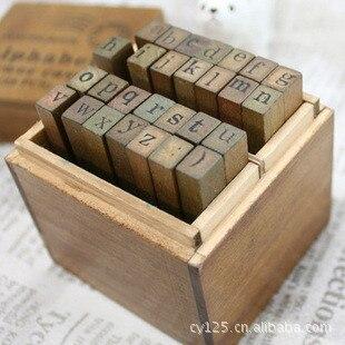 Anglais Cursive Digital English Stamp Wooden Alphabet Digital Letters Seal Set Standardized Stamps 28 Lowercase Letter Stamps