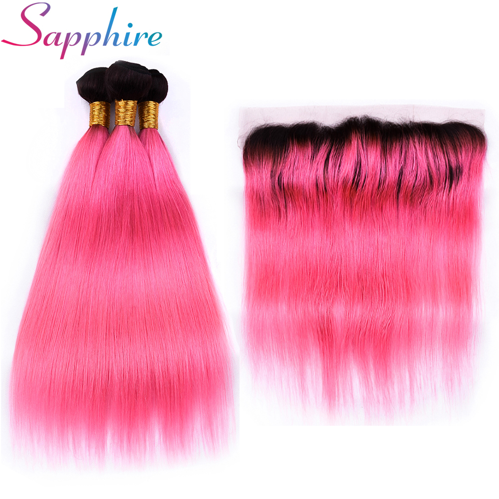 Sapphire Hair T1B/Pink Brazilian Straight Human Hair 3 Bundles with 13x4 Lace Frontal Ombre Color Remy Hair ...