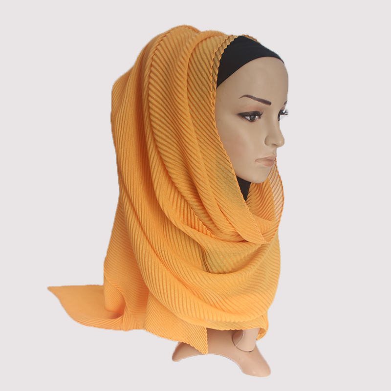 90 180cm Over Size Women Wrinkle Crinkle Bubble Cotton Scarf Muslim Hijab Scarf Turban Head Wrap Solid Color Pleated Scarves in Women 39 s Scarves from Apparel Accessories