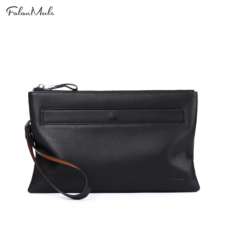 FALAN MULE Clutch Brand Male Clutch Genuine Leather Clutch Bag Wallet Luxury Wallet Men Hand Bag Long Zipper Purse Coin Purse hansband luxury brand men clutch wallet genuine leather hand bag classic multifunction mens high capacity clutch bags purses
