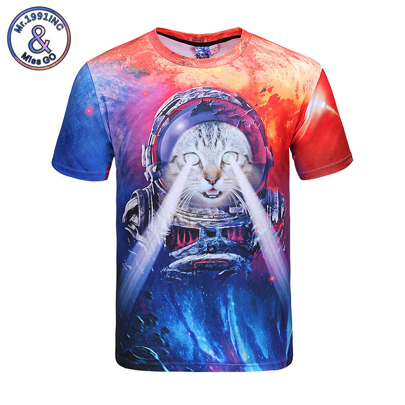 Mr.1991INC Cartoon Cat T-shirt 3D Street Youth Tops Tees Starry Sky Astronaut Printing T shirt Young Students Short Sleeve