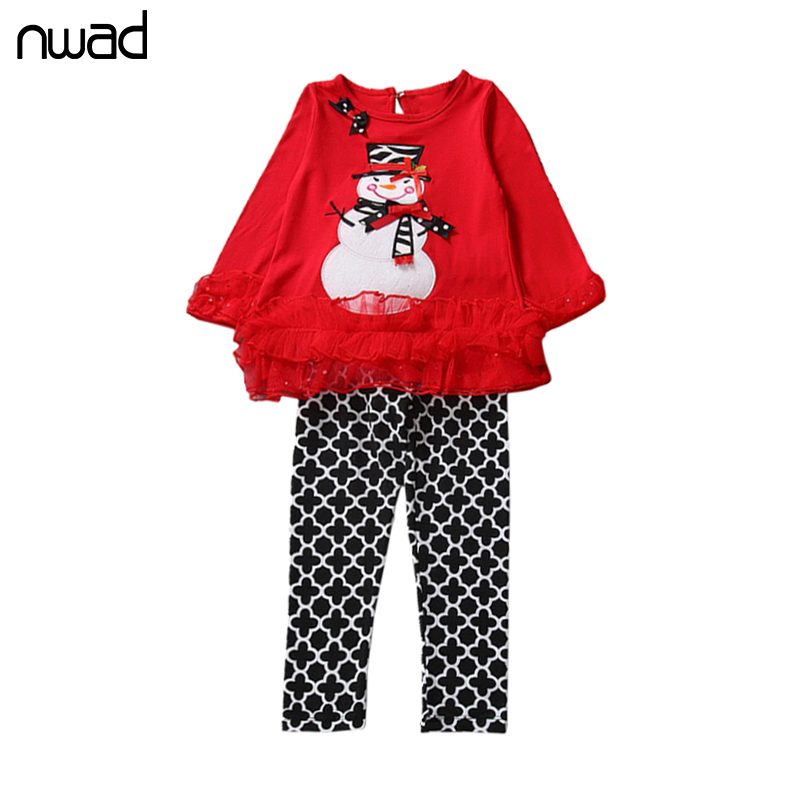 2 Style Baby Girls Kids ChristmasTree Clothing 2017 New Cute Snowman Lace Clothes Set For Newborn Baby Infant Home Wear FF173