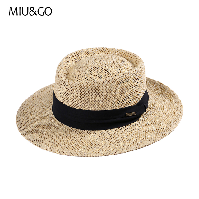 MIU GO 2017 Hot Sale Men s Straw Sun Hat Pork Pie Hat Boater Hat for Male  and Female Handmade Craft Casual Style Summer 69091 3a31a006392