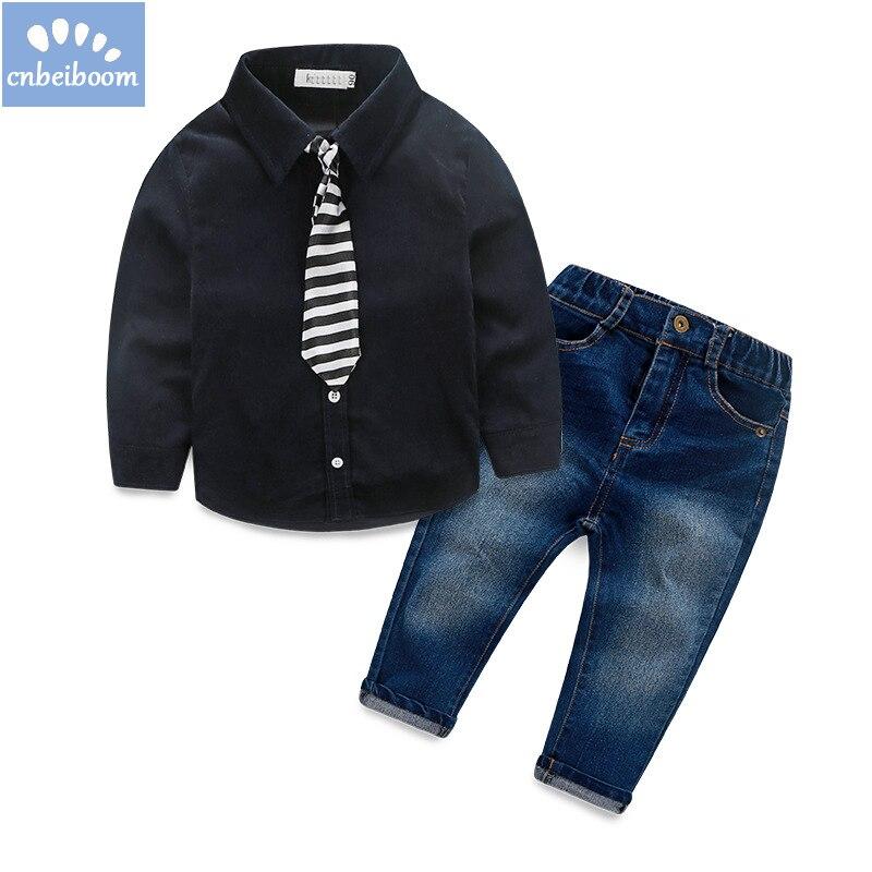 2018 autumn Kids Clothing Set Boy Childrens 2-6 Y Fashion gentleman suit Boys Clothes baby tie shirt jeans pant Sets Kids set