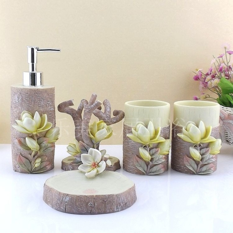 2016 Toothbrush Holder Bathroom Set Lemei Resin Five Piece Bathroom Wedding Suit European Style Products, Wash Gargle Cup Kit