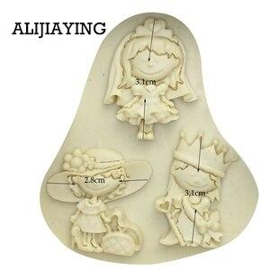 Image 5 - M0119 女の子王女花嫁ケーキデコレーションツール液体 3D シリコンモールド Diy ベーキングアクセサリー