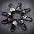 2017 Nueva Llegada Unisex de Los Hombres de Cuero de LA PU zapatillas de Casa Zapatillas de Casa Zapatos Al Aire Libre Zapatillas Animales Zapatos de Moda Playa del Deslizador del Deslizador FF