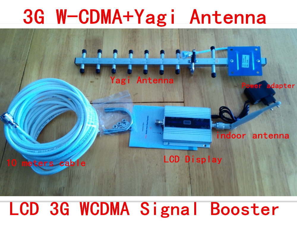 FULL SET 3g Signal Booster LCD Display+13dbi Yagi! Mobile Wcdma 2100mhz 3g Signal Repeater, Cell Phone 3g Signal Amplifier