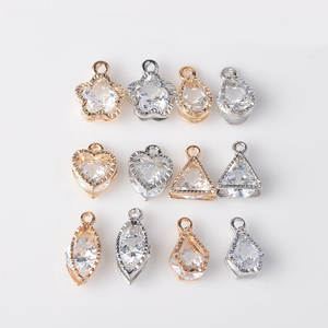 Crystal Charms Flower Zircon Geometry Jewelry Diy Heart Small Making-Accessories Series