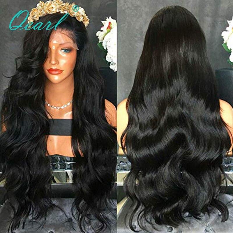 180% épais densité longue brésilienne vague de cheveux bébé cheveux dentelle avant perruque de cheveux humains naturel noir pour les femmes noires 13x4 Remy Qearl