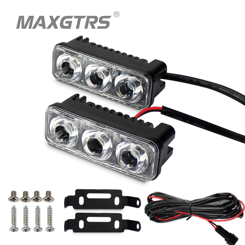 MAXGTRS DRL Waterproof Car High Power Aluminum LED Daytime Running Lights with Lens DC12V Super White 6000K DRL Fog Lamps high quality h3 led 20w led projector high power white car auto drl daytime running lights headlight fog lamp bulb dc12v