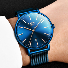 LIGE New Mens Watches Top Brand Luxury Sports Watch Slim Mesh Steel Date Waterproof Quartz Watch For Men Clock Relogio Masculino цена