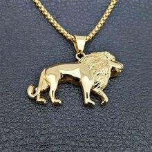 Collier de Lion en acier inoxydable pour femmes et hommes, pendentif tête de Lion de couleur or, bijoux animaux, meilleur cadeau éthiopien d'afrique Lion