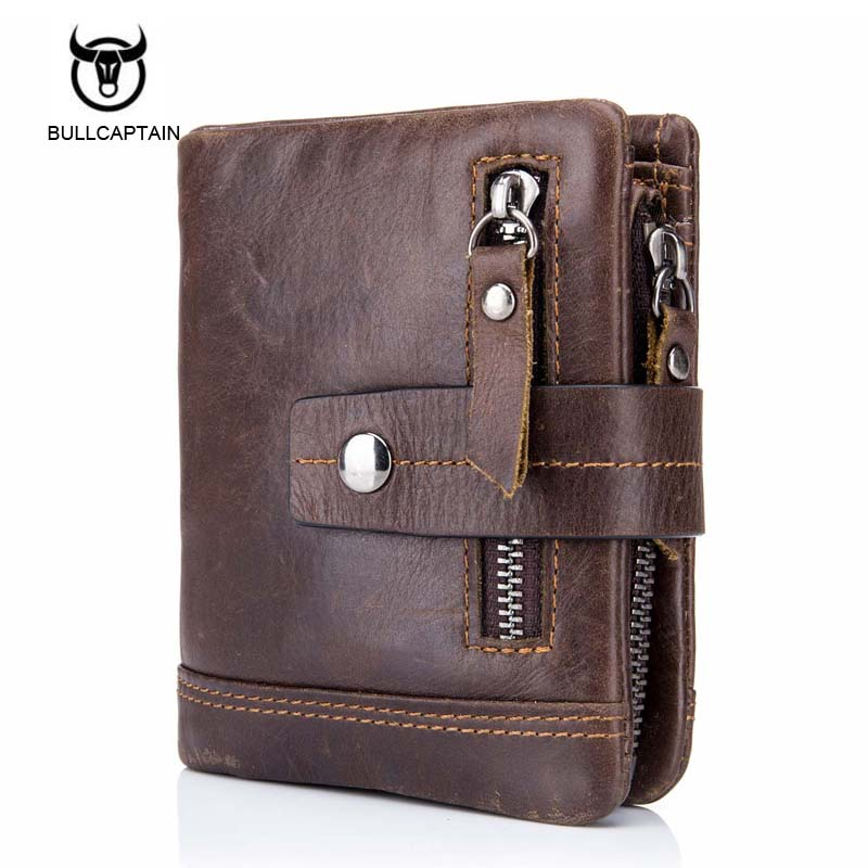 Genuine Cow Leather Mens Wallets Brand Logo Zipper Design Bifold Short Men Purse Male Clutch with Card Holder Coins Purses Walet цена и фото