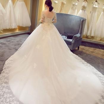 2019 New Winter Sexy V Neck Long Sleeve Wedding Dress 80cm Tail Prinecess Wedding Gown Vestido De Noiva