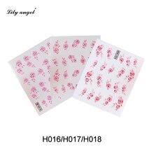 Lily angel 3 Pcs Red Pink DIY Designer Water Transfer Tips Nail Art Rose Flower