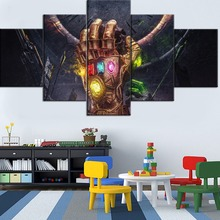 Framework 5 Pieces Modular HD Printing Canvas Painting Movie Avengers Infinity Gauntlet Type Poster Home Decorative Living Room