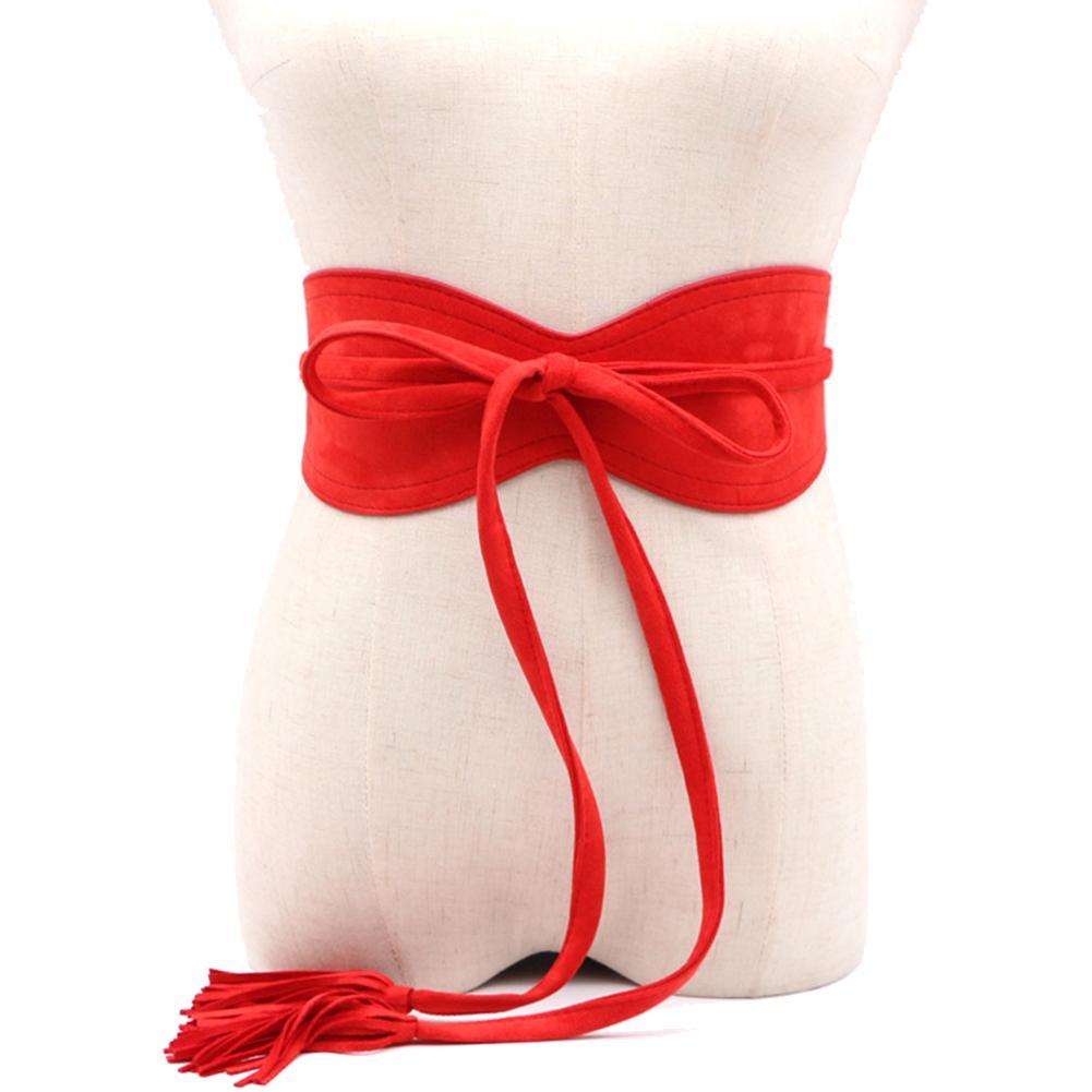 Solid Color Faux Leather Women Bandage Tassel Sash Waistband Wedding Dress Belt New
