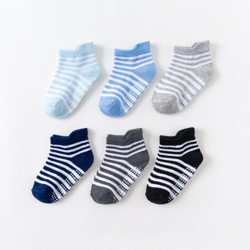 6Pair/lot New children's floor socks socks cotton non-slip glue boys and girls baby socks