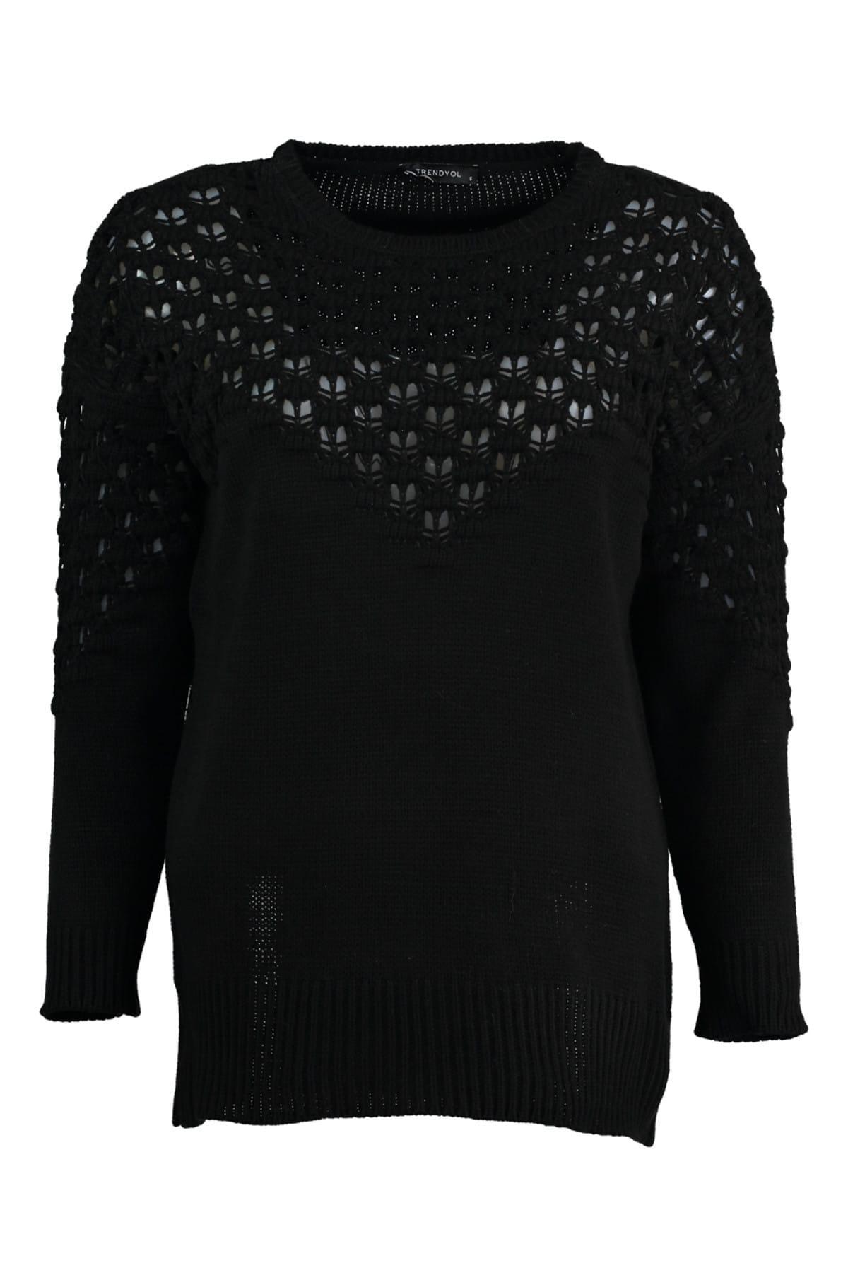Trendyol WOMEN-Black Ajurlu Knitwear Sweater TWOAW20HB0002