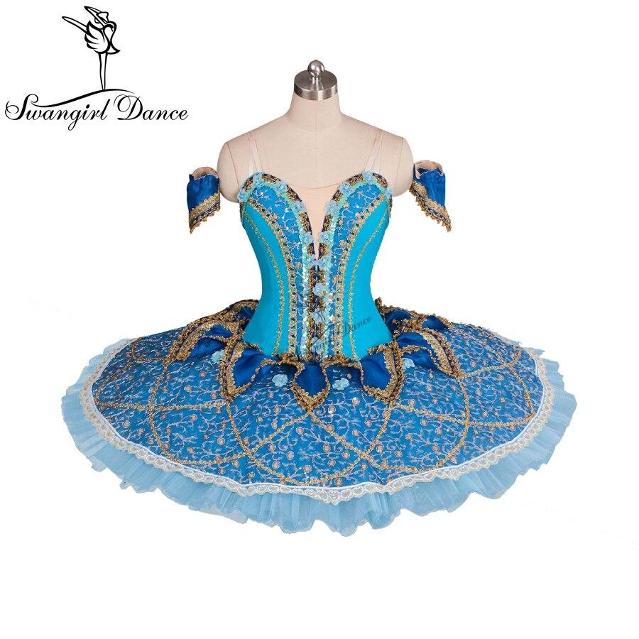 Adulte bleu oiseau cygne lac tutu de ballet pour vente, performance costumes de danse pancake tutu plateau womenBT9061