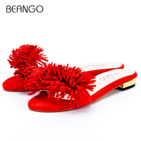 BEANGO Fashion Summer One Strap Fringe Slides Kid Suede Flat Tassel Solid Slippers All Match Cozy