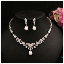 Simulated Pearl Bride Wedding Jewelry Sets Cubic Zircon Bridal Crystal Rhinestone Prom Wedding Jewelry Necklace Earring Sets