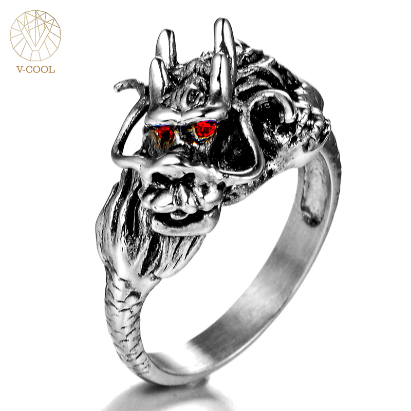 V-COOL Stainless Steel Silver Dragon Red Zircon Eye Domineering Men Ring Vintage Punk Retro Gothic Ring Men Jewelry VR260