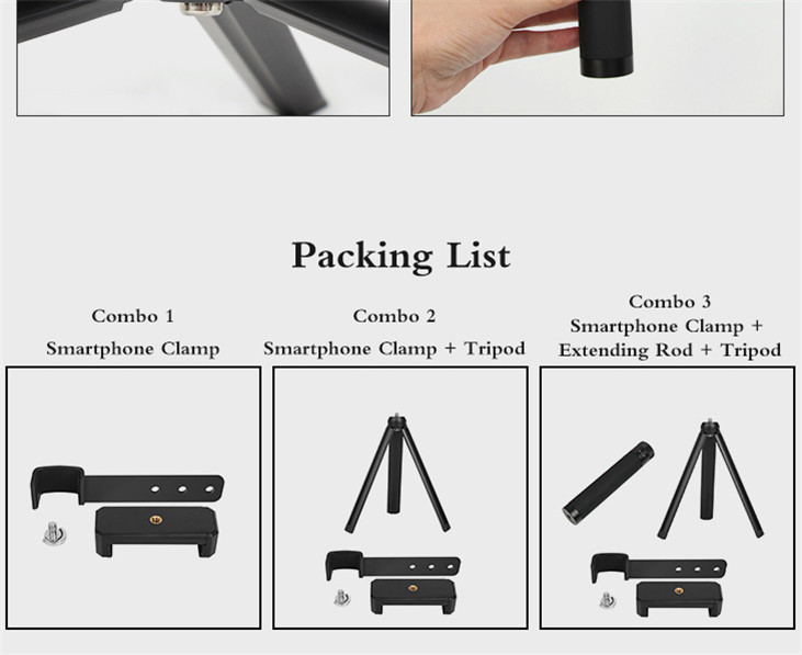 OSMO Pocket Smartphone Fixing Bracket Stand Clamp Extending Rod Tripod for DJI OSMO POCKET Gimbal Accessories 15